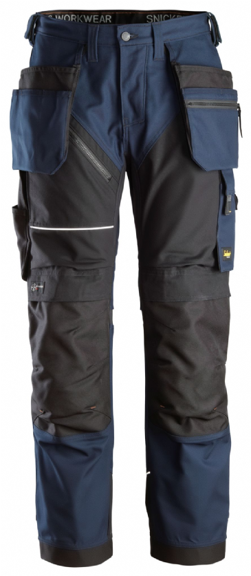 Snickers 6214 RuffWork Canvas+ Heavy Duty Work Trousers+ Holster Pockets (Navy/Black)